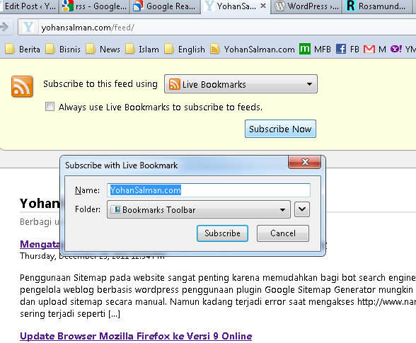 live bookmarks di bookmarks button