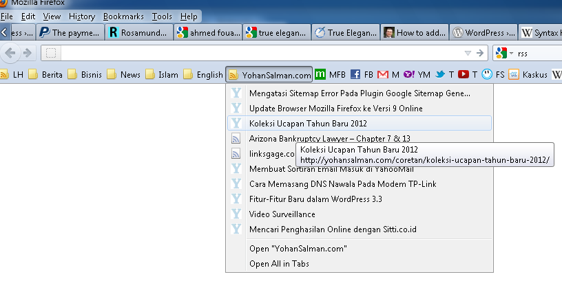 Tampilan Bookmark Toolbar